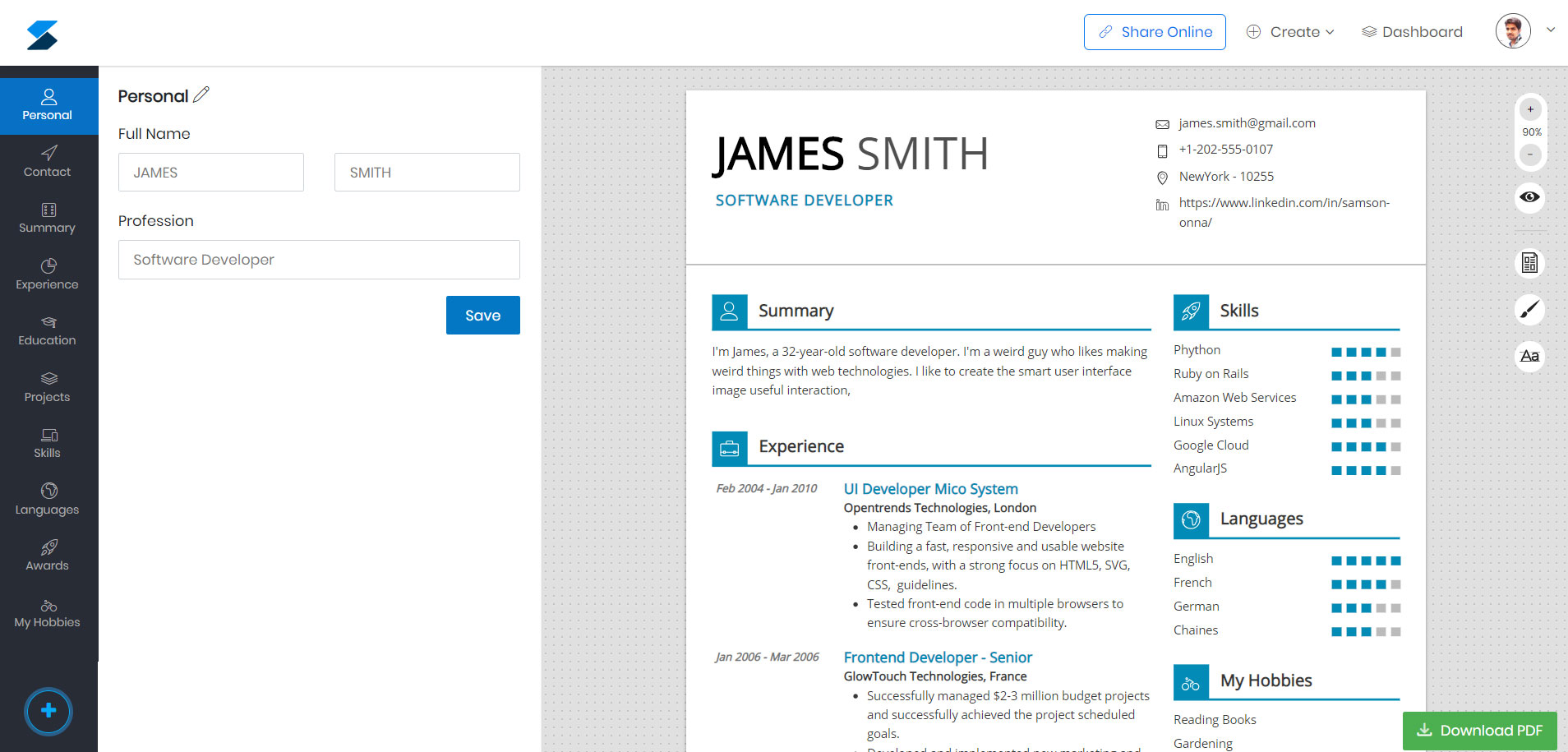 Online Professional Resume Builder