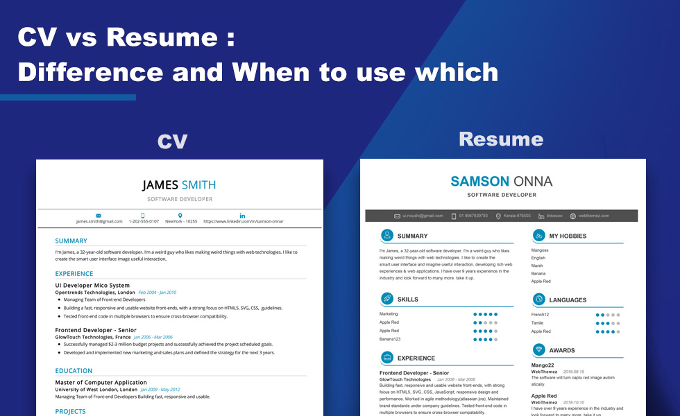 what is the difference between cv and resume 2019