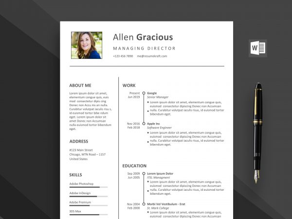 Professional word resume template