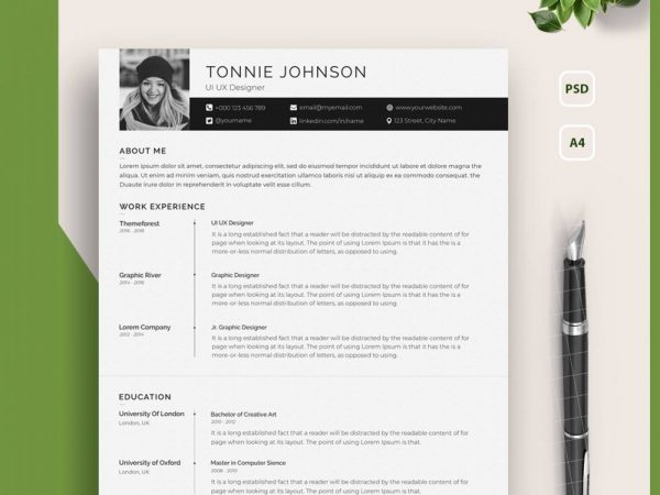 One Page Resume Template with Photo
