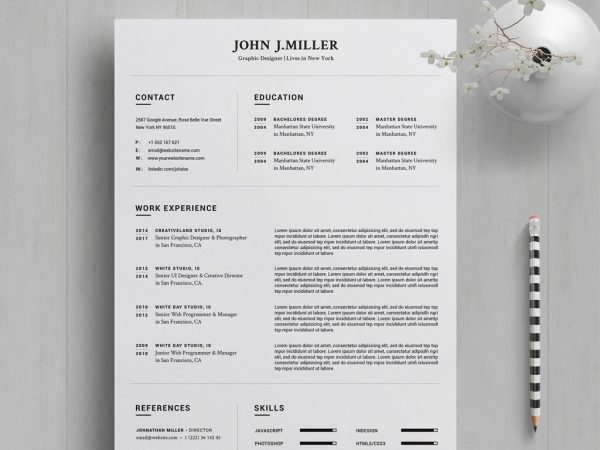 resume template in ms word