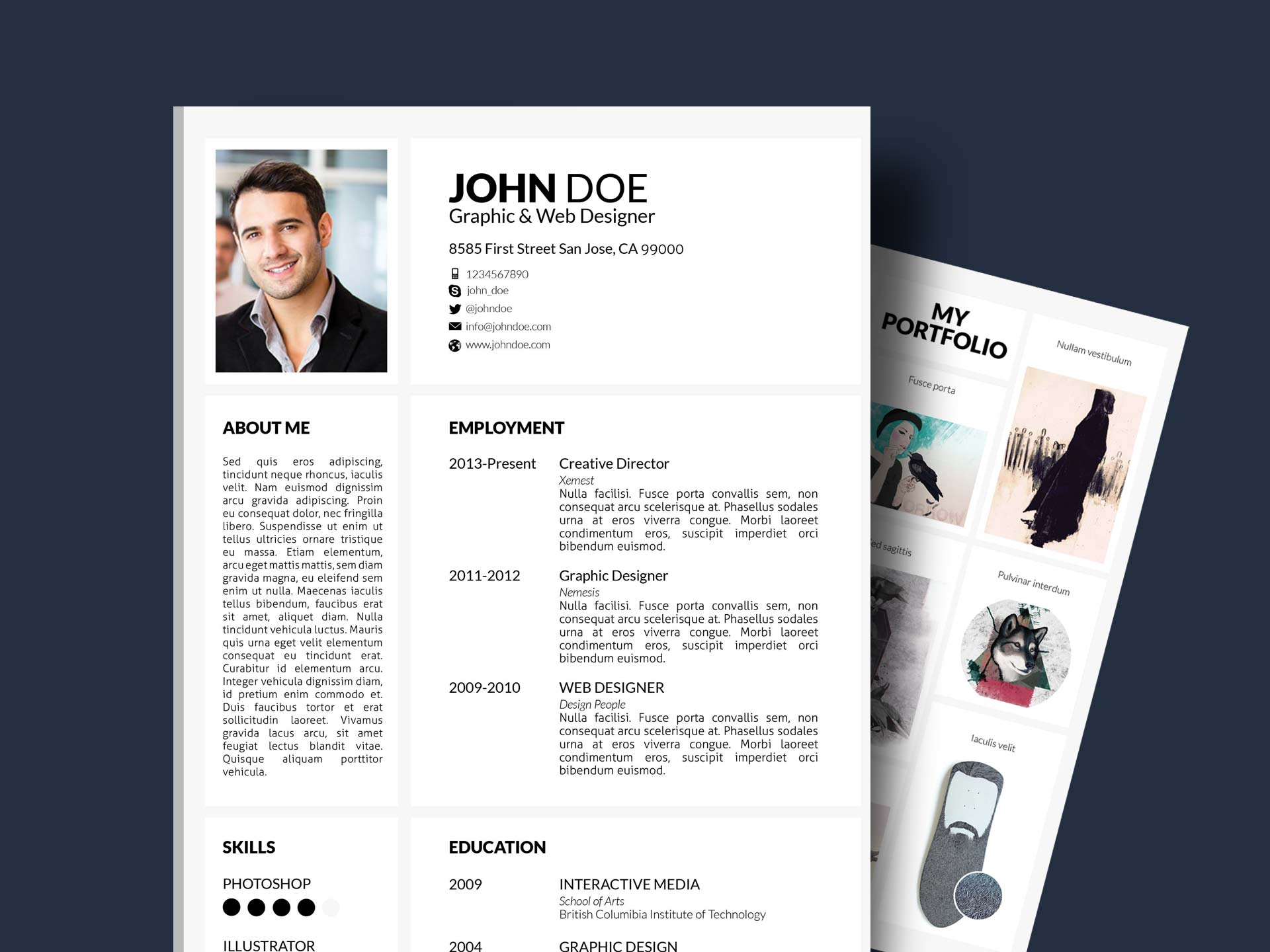 portfolio resume template with cover letter